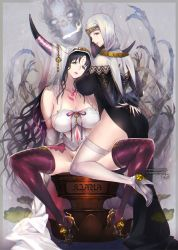 2girls arms_behind_back artist_name aym bare_shoulders bone breasts collarbone dual_persona facial_mark fate/extra fate/extra_ccc fate_(series) forehead_mark high_heels horns huge_breasts jewelry long_hair looking_at_viewer looking_back multiple_girls nun parted_lips sesshouin_kiara side_slit skeleton skull spread_legs tareme tattoo thighhighs veil very_long_hair white_legwear yellow_eyes