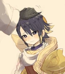 1boy alfonse_(fire_emblem) armor bright_pupils child crying fire_emblem fire_emblem_heroes gloves looking_down male_focus petting purple_eyes short_hair simple_background summoner_(fire_emblem_heroes) tan_background teardrop tears upper_body white_background yataba younger