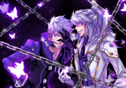 2boys add_(elsword) black_background butterfly chains choker dual_persona elsword facial_mark gloves grey_hair grin half_updo hand_over_face jacket long_hair male multiple_boys purple_eyes selcia smile tattoo