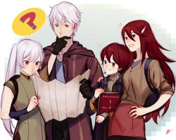 1boy 3girls ? black_gloves book brown_eyes casual cloak eva_smith family father_and_daughter father_and_son fire_emblem fire_emblem:_kakusei gloves hood male_my_unit_(fire_emblem:_kakusei) map mark_(fire_emblem) mother_and_daughter mother_and_son multiple_boys multiple_girls my_unit_(fire_emblem:_kakusei) red_eyes red_hair selena_(fire_emblem) silver_hair smile spoken_question_mark tiamo