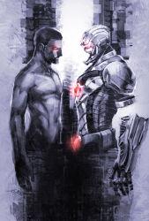 1boy black_hair cyborg cyborg_(dc) dark_skin dc_comics highres mechanical_arm monochrome red_eyes shirtless solo