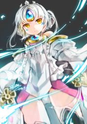 1girl 2014 dated detached_sleeves elsword eve_(elsword) expressionless forehead_jewel from_below grey_background miniskirt panties panty_shot panty_shot_standing pantyshot short_hair signature skirt solo underwear upskirt vilor white_hair yellow_eyes