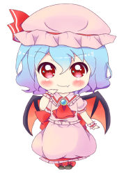 1girl bat_wings blue_hair brooch chibi dress fang jewelry mob_cap ogata_hisano pink_dress red_eyes remilia_scarlet short_hair short_sleeves simple_background smile solo touhou white_background wings wrist_cuffs