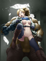 1girl areolae blonde_hair blue_eyes blush boots breasts censored coat feet gloves highres huge_penis large_breasts leg_up legs looking_at_viewer mosaic_censoring navel nipples no_bra no_panties open_clothes open_mouth penis pussy rape resident_evil resident_evil_6 sex sherry_birkin shirt_lift short_hair sweat tears thighs thor_(deep_rising) torn_clothes unzipped weapon zombie