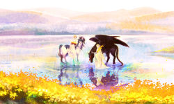 2girls aohato blonde_hair dress field flower flower_field highres horse long_hair multiple_girls pegasus pixiv_fantasia pixiv_fantasia_4 pointy_ears riding scenery short_hair water white_dress