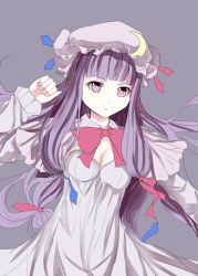 1girl breasts capelet cleavage crescent culter dress hair_ribbon long_hair long_sleeves mob_cap patchouli_knowledge purple_dress purple_eyes purple_hair ribbon solo touhou tress_ribbon very_long_hair