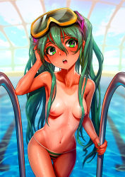 1girl :o adjusting_hair aqua_eyes aqua_hair aqua_nails areolae arm_up as109 bare_shoulders bikini blurry blush breasts collarbone cowboy_shot depth_of_field goggles goggles_on_head hatsune_miku highres long_hair navel nipples one-piece_tan open_mouth pool rei_no_pool solo striped striped_bikini striped_swimsuit summer swimsuit tan tanline thigh_gap topless very_long_hair vocaloid water wet zanshomimai