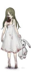 1girl artist_request blonde_hair blood doll dress fangs flat_chest loli monster monster_girl stain stuffed_animal zombie