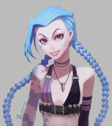 1girl blue_hair braid bullet jinx_(league_of_legends) league_of_legends lipstick necklace pink_eyes tattoo twin_braids