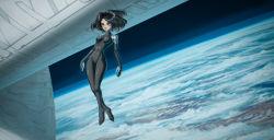 1girl black_hair bodysuit cloud cyborg earth gally gunnm highres justinas_vitkus science_fiction short_hair space space_station