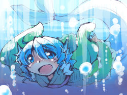 1girl blue_eyes blue_hair bubble drill_hair head_fins japanese_clothes kimono long_sleeves mermaid monster_girl obi open_mouth sash shinapuu short_hair sketch smile solo touhou underwater wakasagihime wide_sleeves