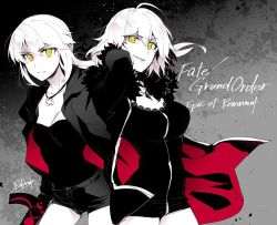 2girls casual collarbone fate/grand_order fate_(series) fur_trim jacket jeanne_alter jewelry multiple_girls necklace open_clothes open_jacket redrop rosary ruler_(fate/apocrypha) saber saber_alter short_shorts shorts sword weapon white_hair yellow_eyes