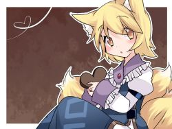 1girl animal_ears blonde_hair brown_eyes chocolate chocolate_heart commentary_request fox_ears fox_tail hammer_(sunset_beach) heart holding looking_at_viewer short_hair solo tail touhou valentine yakumo_ran