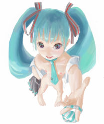 1girl barefoot dreamer_tapir feet full_body hair_ornament hair_ribbon hatsune_miku holding_panties long_twintails looking_at_viewer nipples panties ribbon simple_background solo striped striped_panties tied_hair twintails underwear vocaloid white_background