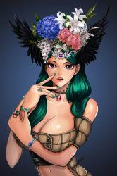 1girl bracelet breasts cleavage flower genderswap green_hair head_wings headdress illuso jewelry jojo_no_kimyou_na_bouken long_hair midriff nail_polish necklace purple_eyes ring rokiru solo