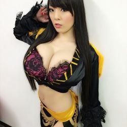 asian boa_hancock boa_hancock_(cosplay) bra breasts cleavage cosplay hitomi_tanaka huge_breasts instagram long_hair midriff nail_polish navel one_piece photo side_slit