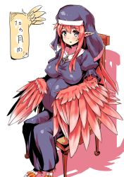 1girl breasts catholic cross crucifix feathered_wings grey_eyes habit harpy highres long_hair looking_at_viewer monster_girl nun open_mouth original pointy_ears pregnant sitting solo talons tk2k_jade wings