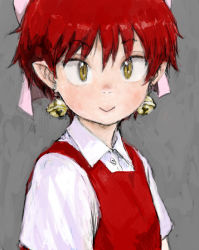 1girl :> bell bell_earrings bow buttons collar collared_shirt dress earrings gegege_no_kitarou grey_background hair_bow hair_ornament jewelry long_sleeves looking_at_viewer nekomusume nostrils pinafore_dress pointy_ears pon portrait red_hair sanpaku shirt short_hair simple_background slit_pupils smile solo tsurime yellow_eyes