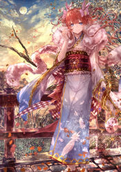 1girl alternate_costume alternate_hairstyle blue_eyes blue_kimono blurry braid bridge cloud depth_of_field feather_boa feather_print feathers full_body full_moon granblue_fantasy grass hair_between_eyes hair_tousle hair_up highres japanese_clothes kimono lecia_(granblue_fantasy) light_smile moon obi orange_hair outdoors petals sash scarf sheath sheathed signo_aaa sky solo standing stone_floor sword tree twin_braids weapon wide_sleeves