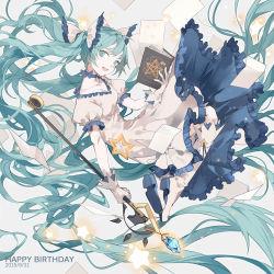 1girl animal_ears birthday book cat_ears dress grimoire hatsune_miku long_hair nine_(liuyuhao1992) staff twintails very_long_hair vocaloid