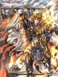 1boy armor artist_name blonde_hair building cloud cloudy_sky copyright_name fangs fire force_of_will gloves kamijororo lion male_focus official_art open_mouth red_eyes rock scar sky solo sword teeth upper_body weapon yellow_eyes