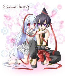 1boy 1girl bad_id bare_shoulders blush bound_wrists copyright_name couple dress hair_ornament hair_ribbon heart hug hug_from_behind iron_maiden_jeanne long_hair nemokochi open_mouth red_eyes ribbon shaman_king silver_hair sitting tao_ren