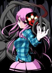 00s 1girl checkered checkered_shirt cthulhu_mythos demonbane hata_no_kokoro long_hair mask nya_(demonbane) nyarlathotep nyarlathotep_(nyaruko-san) pink_eyes pink_hair shirt simple_background touhou usami_akane