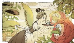 1girl blonde_hair blue_eyes braid brushing_teeth carnivorous_plant female frog maid_apron open_mouth original parallela66 pitcher_plant plant puffy_short_sleeves spider teeth tongue_out toothbrush twitter_username
