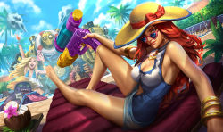 2boys 2girls armlet barefoot blitzcrank blonde_hair blue_eyes bracelet breasts cellphone cleavage cleavage_cutout curly_hair dr._mundo feather_boa grey_eyes hairband hat heart-shaped_sunglasses jewelry large_breasts league_of_legends lee_sin lifebuoy long_hair long_tongue looking_at_viewer looking_back luxanna_crownguard multiple_boys multiple_girls official_art one-piece_swimsuit palm_tree phone pool pool_party_miss_fortune purple_skin red_hair robot sarah_fortune sitting smartphone straw_hat sun_hat super_soaker swimsuit tongue tongue_out tree water_gun