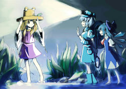 3girls absurdres adjusting_clothes adjusting_hat alpha.e backpack bag barefoot blonde_hair blue_eyes blue_hair boots bow cirno dress flashlight frog gloves hair_bobbles hair_bow hair_ornament hair_ribbon hat highres ice ice_wings kawashiro_nitori key long_hair moriya_suwako multiple_girls net night open_mouth ribbon short_hair smile touhou twintails water waving wings yellow_eyes