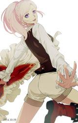 1girl amira_(shingeki_no_bahamut) boots braid long_hair looking_at_viewer looking_back pink_hair purple_eyes rena_(renasight) shingeki_no_bahamut:_genesis shorts solo vest