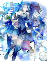 1girl :o absurdres arm_ribbon blue blue_eyes blue_hair bolo_tie boots bow butterfly clock detached_sleeves dress floating frilled_skirt frills hair_bow hatsune_miku heart heart-shaped_pupils highres japanese leg_ribbon long_hair necktie picture_frame skirt solo star symbol-shaped_pupils tablet_pc tattoo thigh_boots thighhighs twintails very_long_hair vocaloid zzzzxxx2010nian