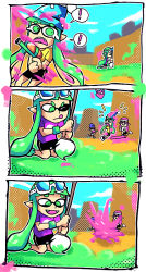 1boy 3girls 3koma comic goggles goggles_on_head inkling multiple_girls open_mouth paint_roller paintbrush pointy_ears setz shorts splatoon squid truth weapon