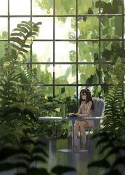 black_hair blue_eyes book butterfly chair ciero dress greenhouse headband idolmaster idolmaster_cinderella_girls open_book plant sagisawa_fumika sitting table