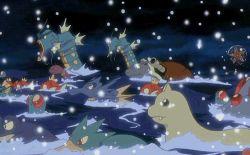 animated animated_gif dewgong ekans golduck gyarados lowres magikarp no_humans pokemon pokemon_(anime) poliwrath seadra starmie swimming tentacool tentacruel