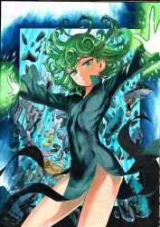1girl 2boys black_dress curly_hair dress eyelashes flat_chest floating_hair genos genos_(one-punch_man) glowing_hands green_eyes green_hair highres loli looking_at_viewer male_focus multiple_boys murata_yuusuke no_panties one-punch_man saitama_(one-punch_man) short_hair shueisha solo_focus tatsumaki tatsumaki_(one-punch_man) telekinesis