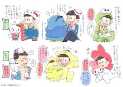 6+boys absurdres angry animal apple artist_name beret bird book bowl_cut brothers brown_hair bunny cat character_hood comic cosplay dixie_cup_hat dog food frog fruit hands_clasped hat heart heart_in_mouth hello_kitty highres hood hoodie kaki_bana keroppi kigurumi koroppi male_focus matsuno_choromatsu matsuno_choromatsu_(cosplay) matsuno_ichimatsu matsuno_ichimatsu_(cosplay) matsuno_juushimatsu matsuno_juushimatsu_(cosplay) matsuno_karamatsu matsuno_karamatsu_(cosplay) matsuno_osomatsu matsuno_osomatsu_(cosplay) matsuno_todomatsu matsuno_todomatsu_(cosplay) messy_hair military_hat multiple_boys my_melody nya_(sanrio) nye_(sanrio) nyi_(sanrio) nyon_(sanrio) nyu_(sanrio) osomatsu-kun osomatsu-san overalls penguin pikki pompompurin reading sanrio sextuplets short_hair siblings simple_background sitting sleeves_past_wrists smile sparkle stacking sunglasses translation_request trembling triangle_mouth tuxedo_sam white_background