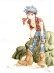 1boy ahoge belt blue_hair brown_eyes coat denim gloves headband jeans kawamura_kou pants rody_roughnight shirt short_hair smile solo vest wild_arms wild_arms_1