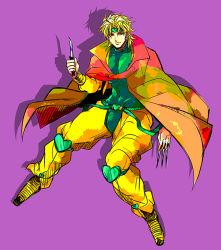 1boy blonde_hair cape dio_brando jacket jojo_no_kimyou_na_bouken knife pointy_shoes red_eyes shoes solo ty_1865 yellow_jacket