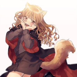 1girl animal_ears bangs black_cape black_shoes black_skirt blush breasts brown_eyes brown_hair cape cat_ears cat_tail crying crying_with_eyes_open eyebrows_visible_through_hair fangs flying_teardrops hands_on_own_cheeks hands_on_own_face harry_potter hermione_granger kemonomimi_mode kurosujuu leg_up long_hair long_sleeves looking_at_viewer miniskirt open_mouth school_uniform shoes simple_background skirt solo standing standing_on_one_leg sweater tail tears wavy_hair white_background