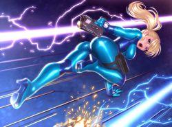 1girl ass blonde_hair blue_eyes bodysuit electricity gun laser long_hair metroid open_mouth ponytail running samus_aran seeker_(shzyu) shiny shiny_clothes solo weapon zero_suit