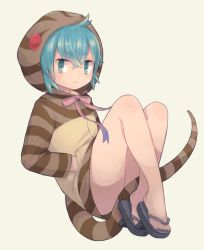 >:< 1girl :< ahoge aqua_eyes aqua_hair bangs bare_legs beige_background closed_mouth crossed_bangs eyebrows_visible_through_hair feet floating full_body geta gradient_ribbon hands_in_pockets highres hood hoodie jitome kemono_friends long_sleeves looking_at_viewer multicolored multicolored_ribbon neck_ribbon pink_ribbon pocket purple_ribbon ribbon saino_(sainoomisaki) sandals sidelocks simple_background snake_tail solo striped striped_clothes striped_hoodie striped_tail tail thighs toenails toes tsuchinoko_(kemono_friends)