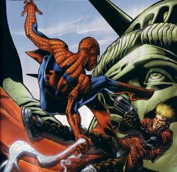 2boys battle crossover gun lowres marvel multiple_boys spider-man statue_of_liberty trigun vash_the_stampede weapon