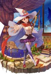 1girl ;d absurdres akko_kagari belt book boots breasts brown_hair buttons cape cleavage cloud cloudy_sky clover cosplay curtains four-leaf_clover hat highres little_witch_academia long_hair medium_breasts miniskirt mizukiyan mushroom navel night night_sky one_eye_closed open_mouth reaching_out red_eyes shiny_chariot shiny_chariot_(cosplay) skirt sky smile sparkle test_tube thigh_boots thighhighs wand witch_hat wizard_hat