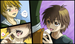 2boys brown_eyes brown_hair multiple_boys ookido_green oral pokemon pubic_hair red_(pokemon) red_(pokemon)_(remake) short_hair shota yaoi