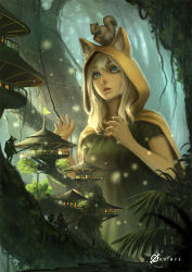 1girl acorn animal_ears animal_hood animal_on_head backpack bag bangs blonde_hair blue_eyes bridge cloak dress fern forest fox_ears giantess green_dress hat hood hooded_cloak leaf light_particles long_hair looking_down miniboy moss multiple_boys namae_shifuta nature neck_ribbon outdoors parted_lips plant ribbon short_sleeves signature size_difference solo_focus squirrel stairs tail tree tree_house village vines