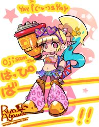 1girl agawa_ryou android aqua_hair arm_cannon bag bangs blonde_hair blunt_bangs commentary_request denim denim_shorts gradient_hair hair_ornament hand_on_hip handbag heart-shaped_sunglasses leopard_print long_hair multicolored_eyes multicolored_hair multiple_girls pantyhose pink_eyes ponytail robot_joints rockman rockman_(classic) roll short_shorts shorts solo sunglasses sunglasses_on_head symbol-shaped_pupils translation_request tubetop union_jack weapon yellow_eyes