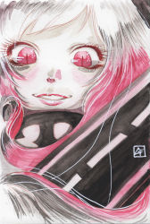 1girl airfield_hime black_background eyelashes from_below glowing high_collar highres kantai_collection lips long_hair looking_at_viewer mixed_media red_eyes shinkaisei-kan signature slit_pupils smile solo tesun_(g_noh) traditional_media upper_body watercolor_(medium) white_hair