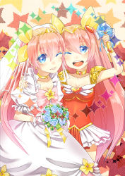2girls 90s ;d absurdres angel_peach blue_eyes bouquet bow colored_eyelashes dress dual_persona flower hanasaki_momoko highres huiji long_hair magical_girl multiple_girls one_eye_closed open_mouth pink_bow pink_hair rose smile wand wedding_dress wedding_peach yellow_bow
