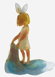 1girl alternative_costume barefoot blanket blonde_hair child dress eyes_closed female kagamine_rin no_mouth no_nose short_hair simple_background solo torla vocaloid white_background white_dress